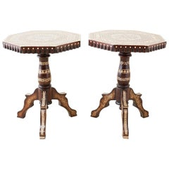 Pair of Middle Eastern Moorish Inlaid Drink Tables