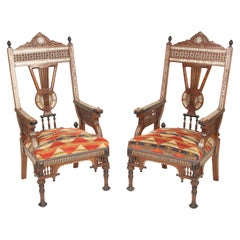 Pair of Middle Eastern Mother of Pearl Inlaid Armchairs