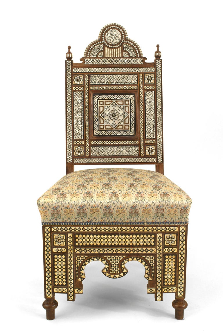 Pair Of Middle Eastern Style Pearl Inlaid Side Chairs For
