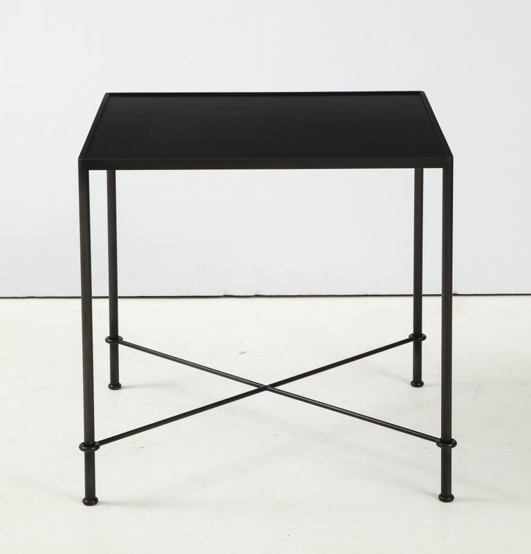 Modern Pair of 'Mies' Handmade Leather and Iron Tables by Lance Thompson, Made to Order For Sale
