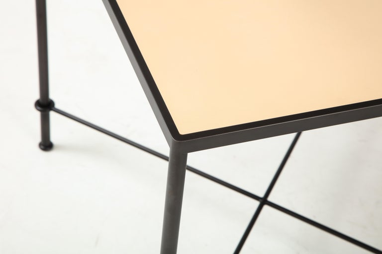Pair of 'Mies' Handmade Leather and Iron Tables by Lance Thompson, Made to Order In New Condition For Sale In Brooklyn, NY