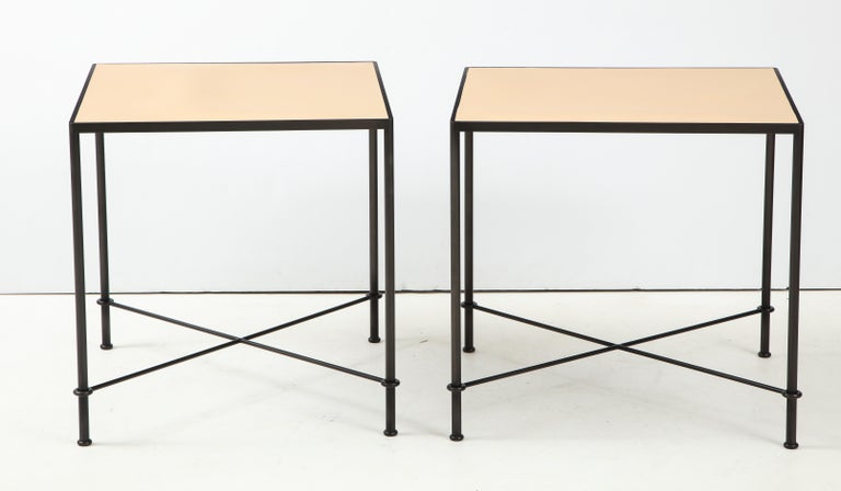 Contemporary Pair of 'Mies' Handmade Leather and Iron Tables by Lance Thompson, Made to Order For Sale