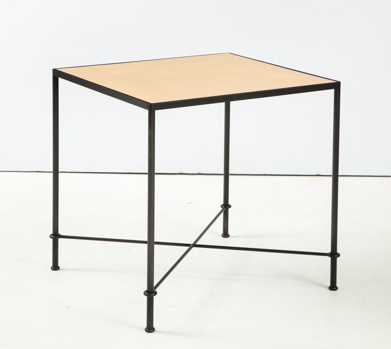 Steel Pair of 'Mies' Handmade Leather and Iron Tables by Lance Thompson, Made to Order For Sale