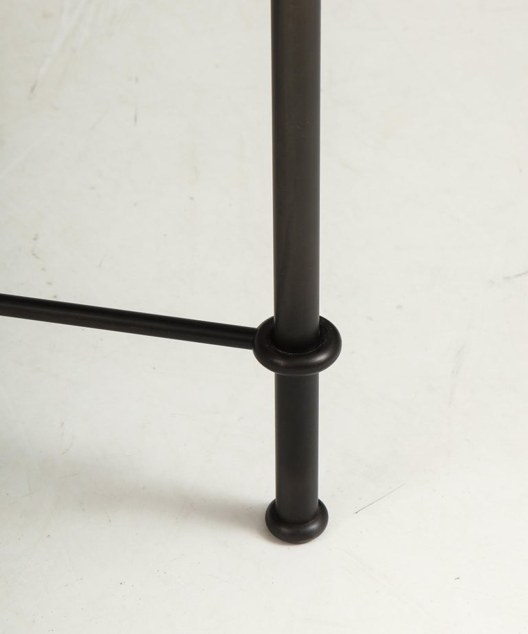 Pair of 'Mies' Handmade Leather and Iron Tables by Lance Thompson, Made to Order For Sale 1
