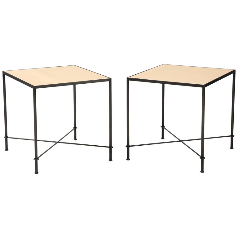 Pair of 'Mies' Handmade Leather and Iron Tables by Lance Thompson, Made to Order For Sale