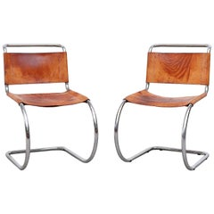 Pair of Mies Van Der Rohe Leather and Chrome Chairs for Thonet