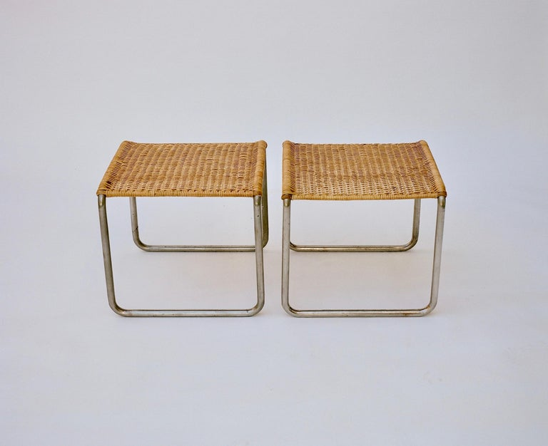 Plated Pair of Mies Van Der Rohe Mr1 Stools, circa 1927 For Sale