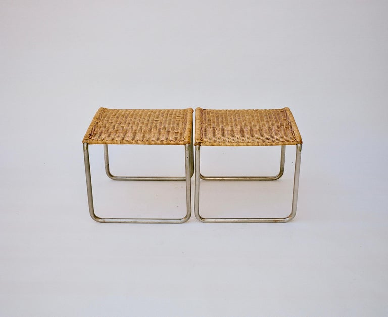 Pair of Mies Van Der Rohe Mr1 Stools, circa 1927 In Good Condition For Sale In Los Angeles, CA