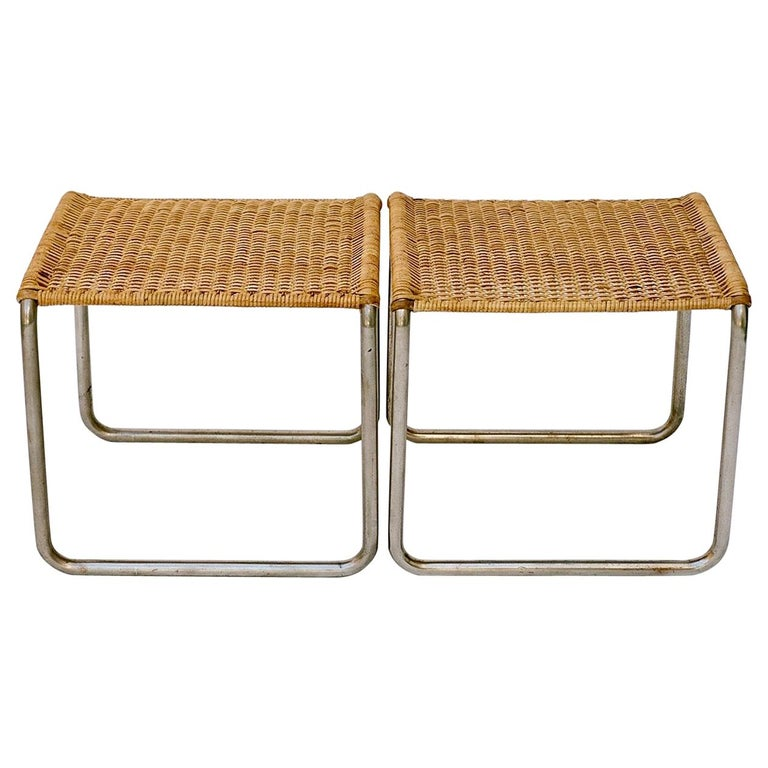 Pair of Mies Van Der Rohe Mr1 Stools, circa 1927 For Sale