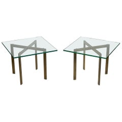 Pair of Mies van der Rohe Style Bronze Barcelona Side Tables