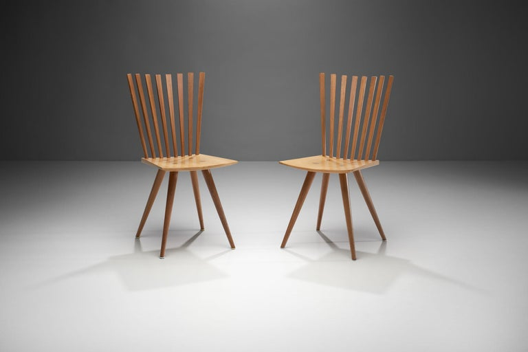 Pair of 'Mikado' Chairs by Johannes Foersom and Peter Hiort-Lorenzen of Nutwood In Fair Condition For Sale In Utrecht, NL
