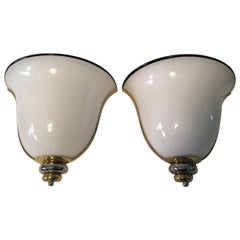 Pair of Milk Glass Brass and Chrome Wall Lights or Sconces by Prearo of Italy