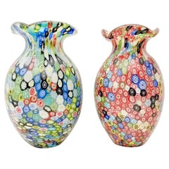 Pair of Millefiori Murano Glass Vases by Fratelli Toso, Italy 1960s