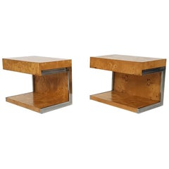 Pair of Milo Baughman Attributed Burl Wood and Chrome Night or Bed Stands