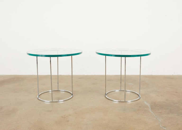 Pair of Milo Baughman Attributed Thin Line Chrome Drink Tables For Sale 3