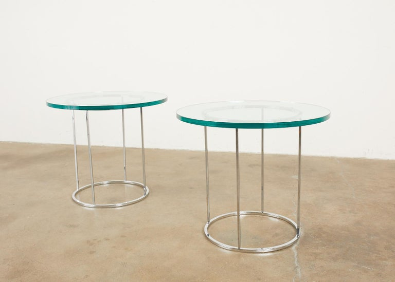 Pair of Milo Baughman Attributed Thin Line Chrome Drink Tables For Sale 4