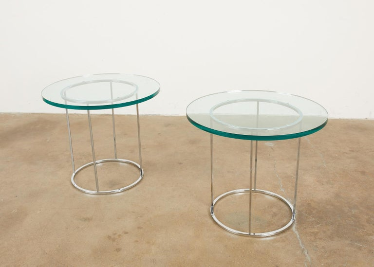 Pair of Milo Baughman Attributed Thin Line Chrome Drink Tables For Sale 5