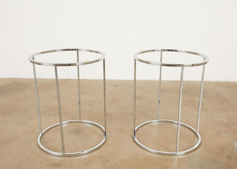 Pair of Milo Baughman Attributed Thin Line Chrome Drink Tables For Sale 6