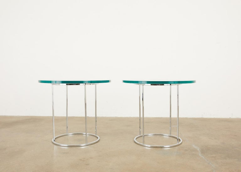 Mid-Century Modern Pair of Milo Baughman Attributed Thin Line Chrome Drink Tables For Sale