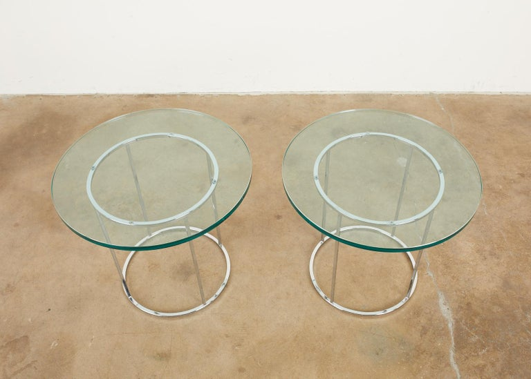 American Pair of Milo Baughman Attributed Thin Line Chrome Drink Tables For Sale