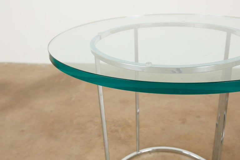 Pair of Milo Baughman Attributed Thin Line Chrome Drink Tables In Good Condition For Sale In Rio Vista, CA