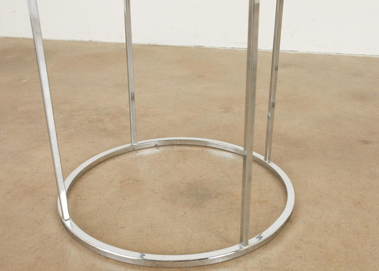 20th Century Pair of Milo Baughman Attributed Thin Line Chrome Drink Tables For Sale