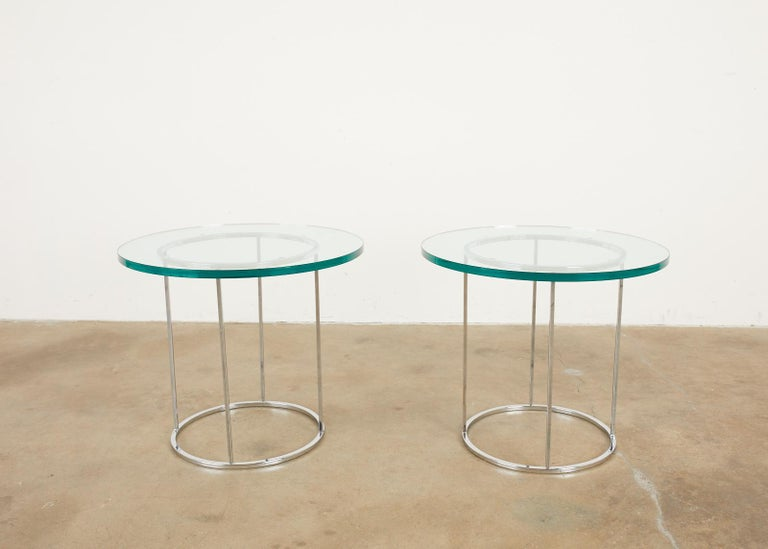 Steel Pair of Milo Baughman Attributed Thin Line Chrome Drink Tables For Sale