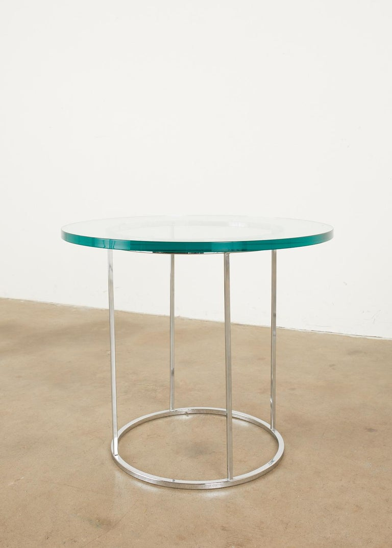 Pair of Milo Baughman Attributed Thin Line Chrome Drink Tables For Sale 1