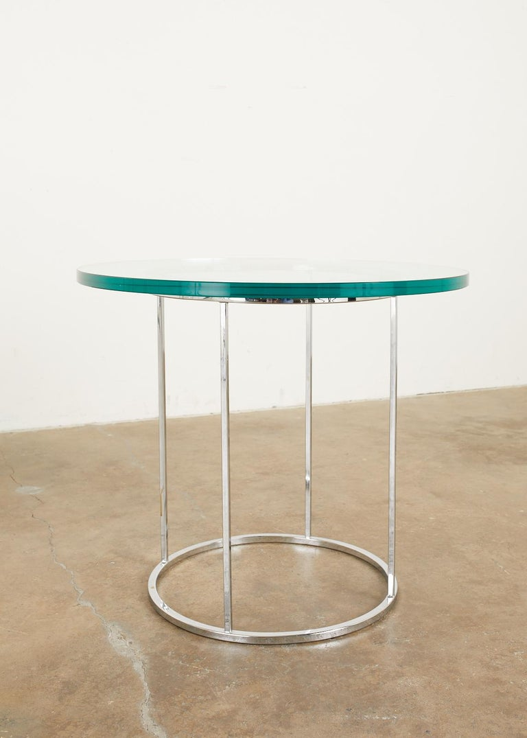 Pair of Milo Baughman Attributed Thin Line Chrome Drink Tables For Sale 2