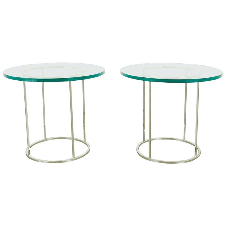 Pair of Milo Baughman Attributed Thin Line Chrome Drink Tables For Sale