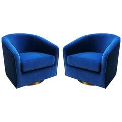 Pair of Milo Baughman Blue Velvet and Brass Swivel Chairs