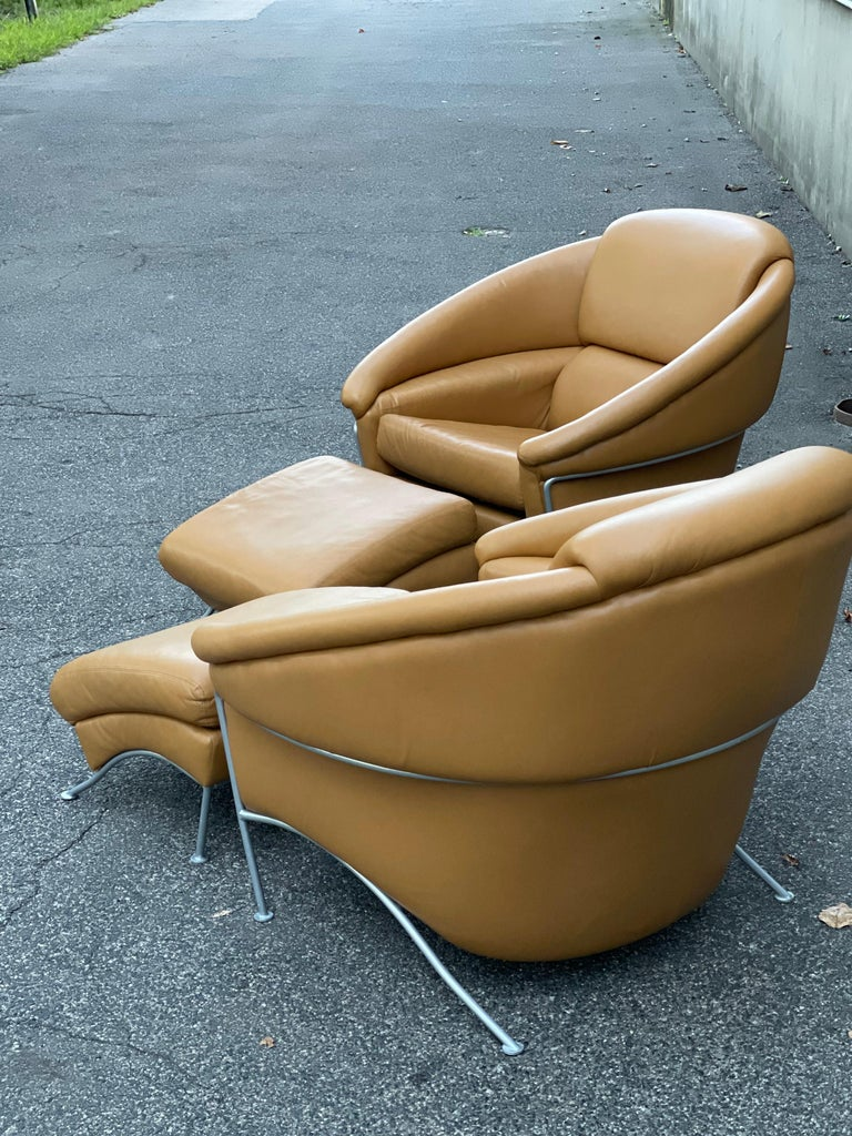 Pair of Milo Baughman Boldido Lounge Chairs and Ottomans for Thayer Coggin For Sale 4