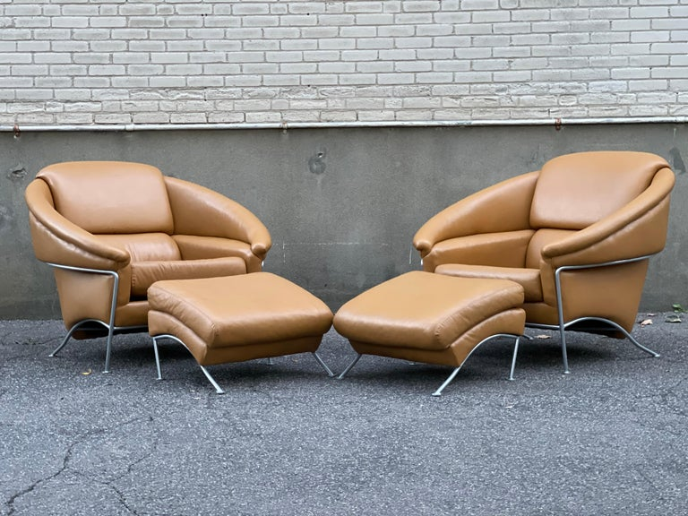 Pair of Milo Baughman Boldido Lounge Chairs and Ottomans for Thayer Coggin For Sale 11