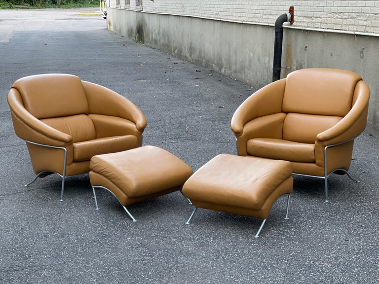 Mid-Century Modern Pair of Milo Baughman Boldido Lounge Chairs and Ottomans for Thayer Coggin For Sale