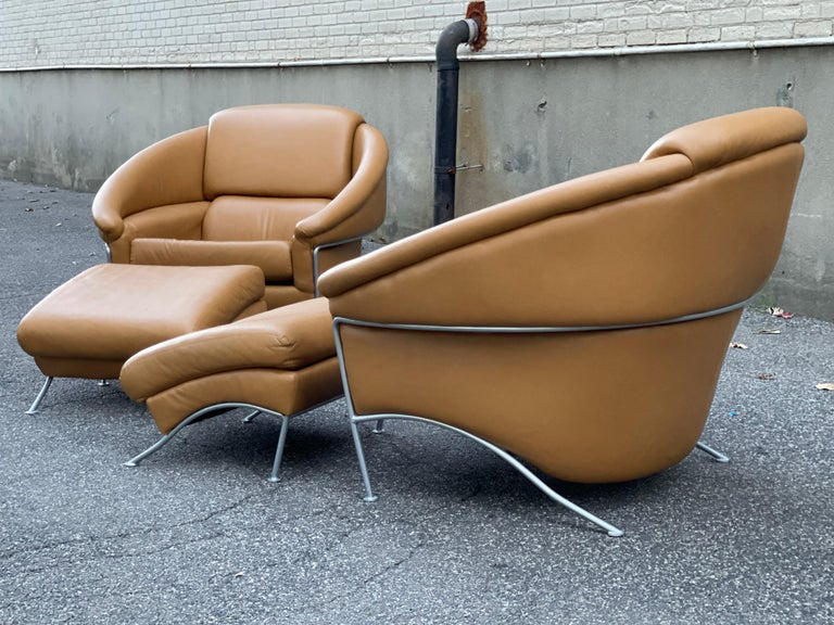 American Pair of Milo Baughman Boldido Lounge Chairs and Ottomans for Thayer Coggin For Sale