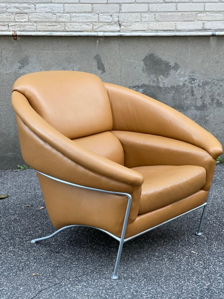 Pair of Milo Baughman Boldido Lounge Chairs and Ottomans for Thayer Coggin In Good Condition For Sale In Framingham, MA