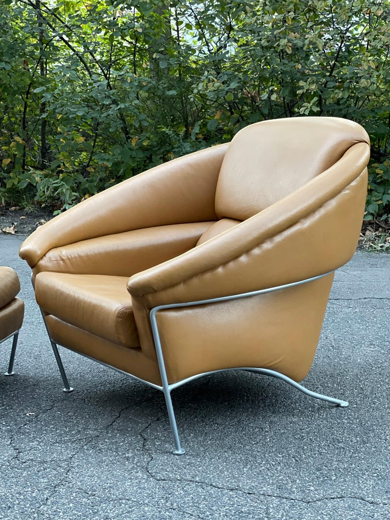 Late 20th Century Pair of Milo Baughman Boldido Lounge Chairs and Ottomans for Thayer Coggin For Sale
