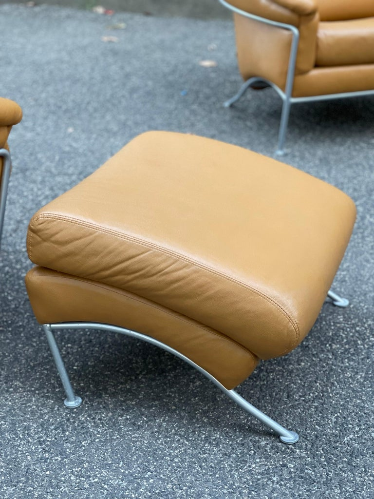 Metal Pair of Milo Baughman Boldido Lounge Chairs and Ottomans for Thayer Coggin For Sale