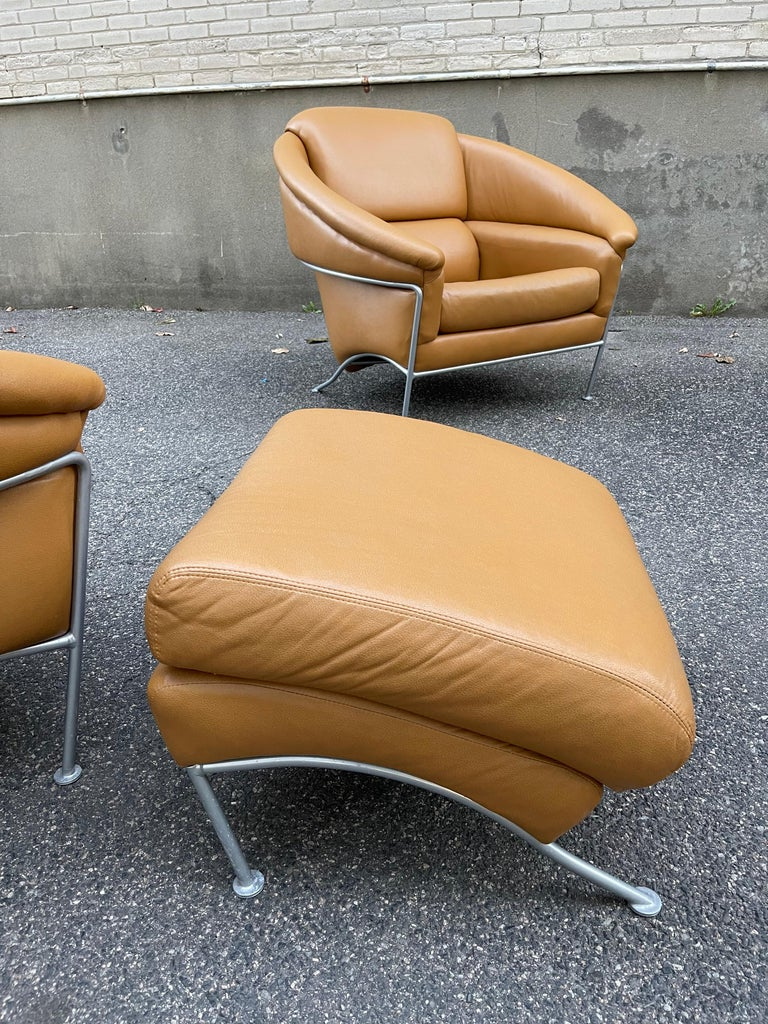 Pair of Milo Baughman Boldido Lounge Chairs and Ottomans for Thayer Coggin For Sale 1