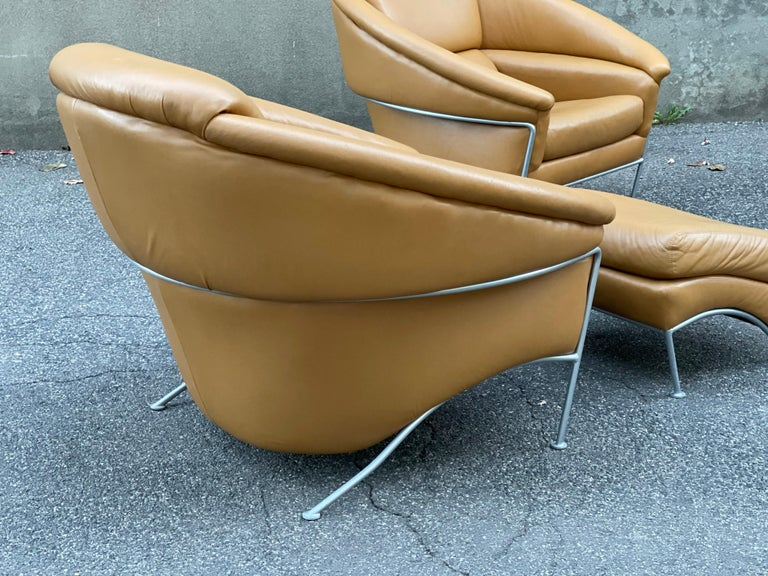 Pair of Milo Baughman Boldido Lounge Chairs and Ottomans for Thayer Coggin For Sale 2