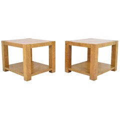 Pair of Lane Burl Wood End Tables or Nightstands