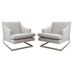 Pair of Milo Baughman Chairs Redone in Gray Wool
