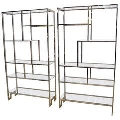 Pair of Milo Baughman Chrome and Glass Six Shelf Étagères