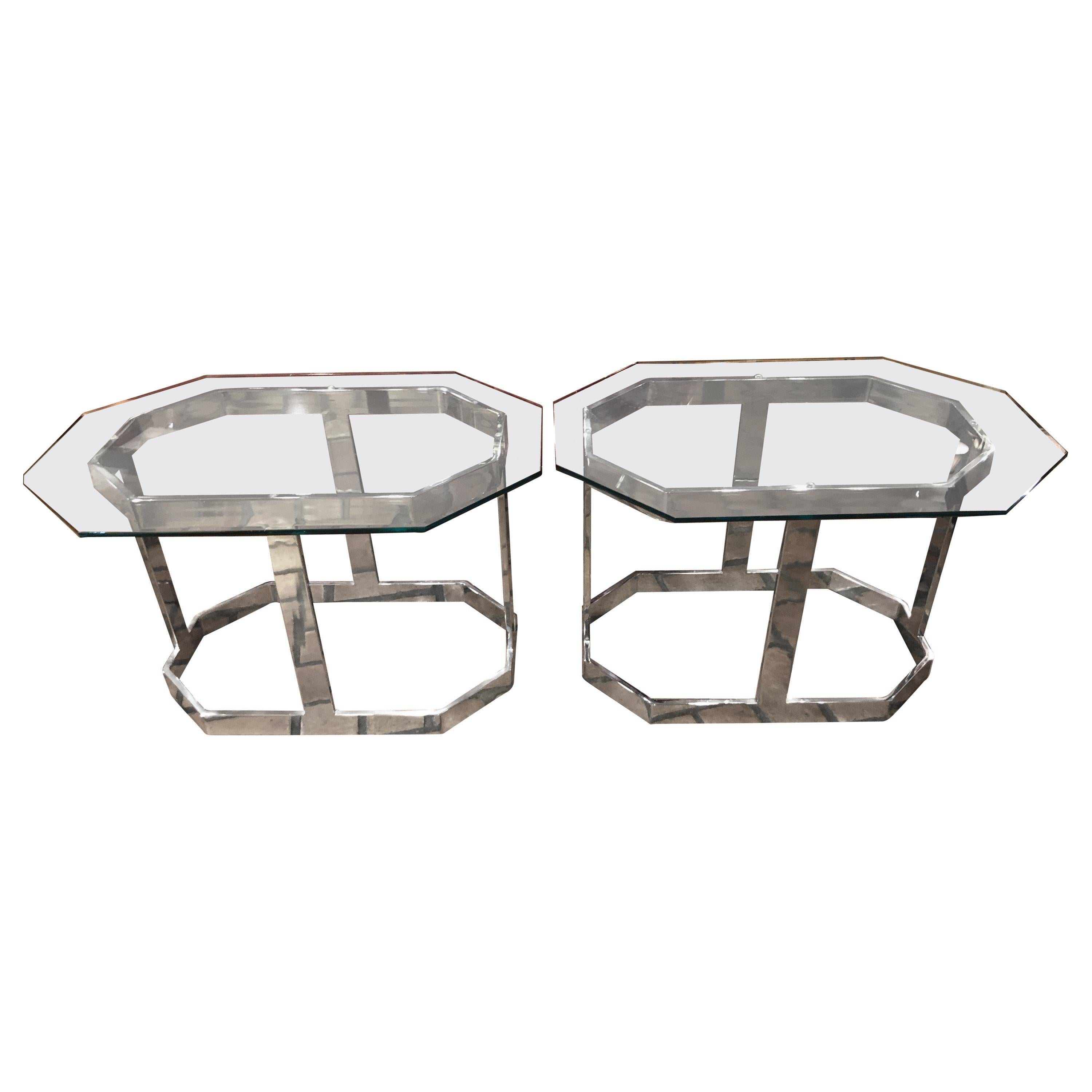Pair of Mid Century Chrome and Glass Side Tables