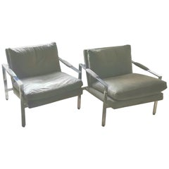 Pair of Milo Baughman Chrome and Ultrasuede Club Chairs