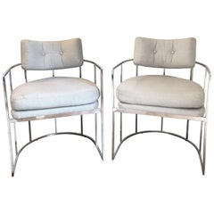 Pair of Milo Baughman Chrome Dining Chairs