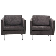Pair of Milo Baughman Club Chairs, Robert Allen Chenille and Chrome Legs