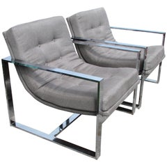 Pair of Milo Baughman Cube Chairs
