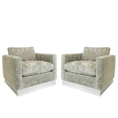 Pair of Milo Baughman Cube Chairs with Plinth Base