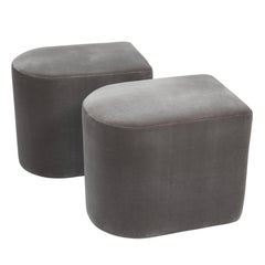 Pair of Milo Baughman D-Shaped Stools on Casters, 1983
